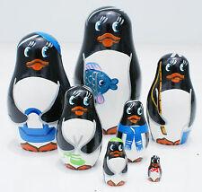 Wooden Penguins Matryoshka Dolls Hand Painted Stacking Nesting Wood Animals 7pc