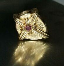 14k Yellow Gold Ruby Catholic Cross Slide Bracelet Charm