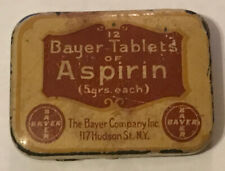 Vintage Bayer Tablets of Asprin Metal Tin - Made In USA