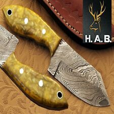 "HAB  Custom Forged Full Tang 3.6""Fixed Blade Damascus steel Hunting Knife QN-402"