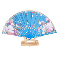 Lake Blue Spanish Flower Floral Fabric Folding Hand Dancing Fan Party Favor