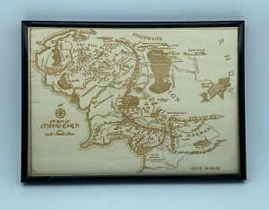 Lord Of The Rings Lotr Map Of Middle Earth Realm Engraving Wooden A4 Framed