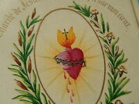 iMAGE PIEUSE HOLY CARD SACRE COEUR DE JESUS GOUACHE AQUARELLE 1868  THFR