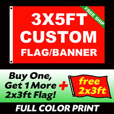 3x5 CUSTOM FABRIC FULL COLOR FLAG Boat Car Match Team Banner +1 Free 2x3ft Flag
