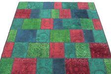 Patchwork Tapis d'orient Vintage moderne 200x150 rouge bleu vert noué à la main