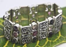 Handmade Solid Sterling Silver .925 Bali Flower Designed Bracelet 24x Tourmaline