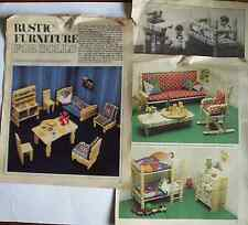 Lot of vintage patterns rustic farmhouse wood doll's furniture from clothes pegs