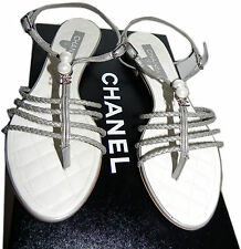 Chanel Flat Leather Thong Sandal Cc Logo Crystals Pearls Sandal Shoe 36- 6