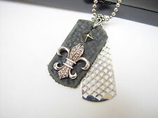 Silver Fleur De Li  Dog Tag with  diamonds by Roccia