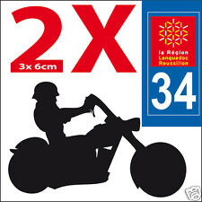 2 stickers autocollants style plaque immatriculation moto Département  34