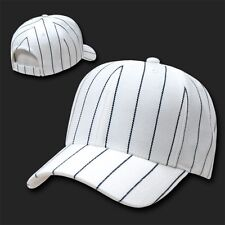 White Pinstripe Pin Stripe Striped Blank Solid Baseball Ball Cap Hat Caps Hats
