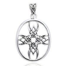 Tribal Cross Symbol Celtic Knotwork Sterling Silver Pendant by Courtney Davis