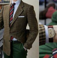 Blazer Men Suit Wedding Groom Brown Herringbone Tweed Notch Lapel Formal Tuxedos