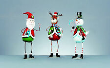 Christmas Metal Character Figures Ornaments Decorations Santa Snowman Reindeer