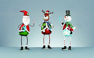 Navidad Metal Personaje Figuras Adornos Decoración Santa Muñeco de Nieve Reno
