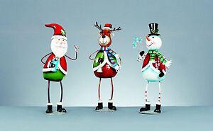 Extra Large 45cm Tall Metal Christmas Ornament Figure Figurine Santa Snowman