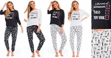 Ladies Jersey Pyjamas CITY BREAK Summer Long Sleeved Lounge Black White New York