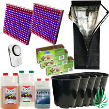 Hydroponics 0.6m Grow Tent LED 225 Panel Pots With Coco Peat And CANNA Nutrients
