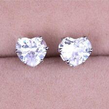 Crystal Heart White Gold GP Ear Stud Earrings Women Jewelry Mother's Day Gift
