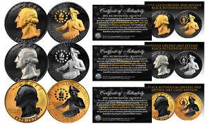 1976 Genuine Bicentennial Quarters 2-Sided BLACK RUTHENIUM Set of 3 ALL Versions