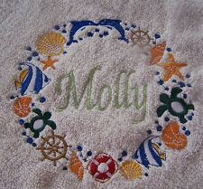 """""""PERSONALIZED EMBROIDERED SEASIDE  BATH/SWIMMING TOWEL"""" 100% COTTON"""