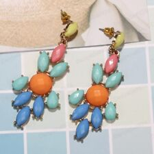 """RETRO 80s BRIGHT MULTI FACETED BEAD EARRINGS 2.5""""long GOLD PLATED LARGE"""
