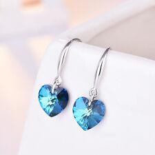 925 Sterling Silver Heart Ocean Blue Hook Drop Stud Earrings Womens Jewellery