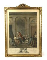 "Antique De Launay 1800s French Art Print Gold Gilt Gesso Frame Fits 19"" x 14"""