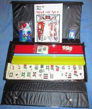 Mahjong  Mah Jong Travel Game set 152 carved tiles, 4 rainbow racks w/ box
