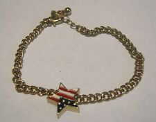 Lovely gold tone metal chain bracelet with USA flag star decoration 7 - 8 ins