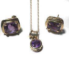Houcks 14K Yellow Gold Purple Amethyst Jewelry Set Necklace Earrings Texas
