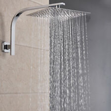 Brushed Nickel 12-inch Square Rain Shower Head Shower Arm Wall Mount Top Heads