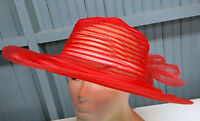 Red Sheer Womens Fashion Church Hollywood Glamour Poly Hat 59cm