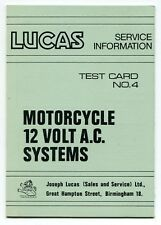 """1969 """"Lucas Service Info"""" Test Card No. 4 - Motorcycle 12 Volt A.C. Systems"""