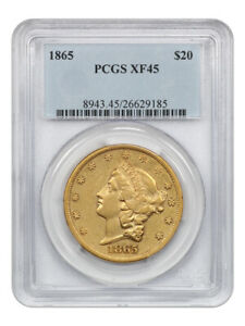 1865 $20 PCGS XF45 - Popular Civil War Date - Liberty Double Eagle - Gold Coin