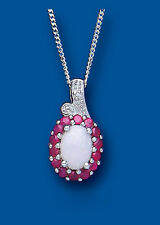 Ruby Pendant Opal Pendant Ruby and Diamond Necklace Solid Sterling Silver