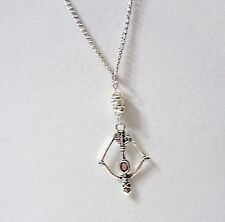 New Hunger Games Mockingjay Bow & Arrow Antique Silver Charms Chain Necklace