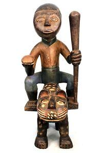 Art Africain Tribal - Statue Cavalier sur Panthère - Colon Abron en Bois 45 Cms