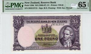 New Zealand 1960-1967 1 Pound PMG Certified Banknote UNC Gem 65 EPQ Pick 159d