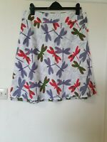 White Stuff Dragonfly Print Reversible A Line Skirt Size 14