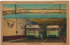 Postcard MI Detroit Ambassador Bridge Connecting Detroit and Windsor Tuneel