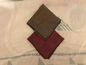 """Unbranded Silk Handkerchief 1 Burgundy 1 Brown 14"""" X 14"""""""