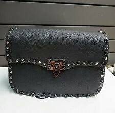 VALENTINO Rockstud Medium Leather Crossbody Bag Black