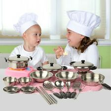 20Pcs Stainless Steel Pots Pans Cookware Miniature Toy Pretend Play Gift For Kid