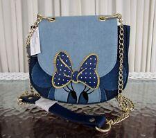 Disney Loungefly Minnie Mouse Denim Saddle Crossbody Bag Purse Blue NWT