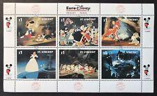 St Vincent Euro Disney Stamp Sheet 1992 Mnh Fairytale Peter Pan Bambi Snow White