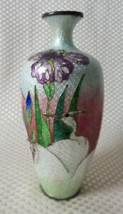 Great Antique Japanese Cloisonné Foil Ginbari Vase, White/Purple/Blue - Signed