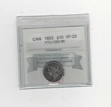 1893 Flat Top 3 / Obv.#5 , Coin Mart  Graded Canadian,  10  Cent, **VF-20**