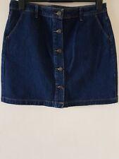 Next Women Blue Rinse Denim Buttons Through Mini/Short Skirt Size UK 14 BNWT
