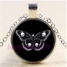 Black Skull Butterfly Cabochon Glass Tibet Silver Chain Pendant Necklace